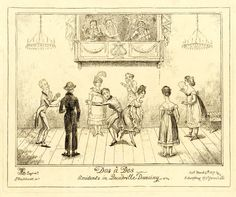 Dos à dos -Accidents in quadrille dancing. Etching by Cruikshank, 1817  British Museum acc. No 1859,0316.128