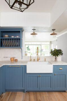 blue kitchen cabinets: Heron Blue by Portola