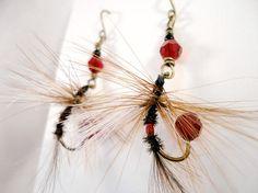 Fishing Fly Earrings  Black White Brown Red by MajaEarrings, $14.00