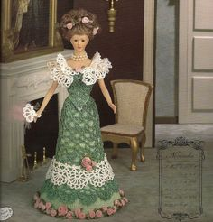 Fashion Doll Theater Gown, Fan Crochet Pattern Miss November Bridal Trousseau Collection 1995 Annies Calendar Bed Doll Society Barbie