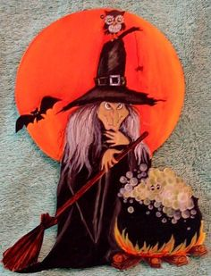 vintage halloween die cut cardboard hallmark witch cauldron - Hallmark Halloween Decorations