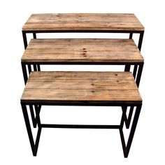Nesting Tables - inspiration for DIY pallet project.  I like the option of the second table being at low desk height so it can be used as a quick pull-out work space.  Perfect for small spaces!
