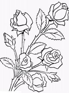 Flower Bouquet Is Made Of Roses Coloring Page