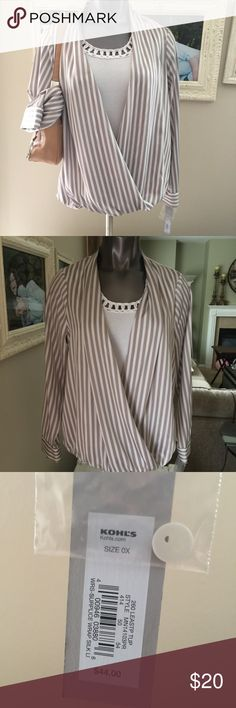 NWT APT 9 WRAP AROUND LOOKING, WOMENS OX BLOUSE NWT, APT 9, WOMENS SIZE OX, WRAP AROUND LOOKING, BEIGE AND CREAM STRIP COLORED, LONG SLEEVE, 100% POLYESTER, SUPER SOFT AND LIGHT, PERFECTLY EASY TO WEAR BEAUTIFUL BLOUSE! RN73277 Apt. 9 Tops Blouses
