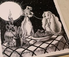 #lillieilvagabondo #lilli #e #il #vagabondo #ladyandthetramp #disney #charter #drawing #black #and #white Cartoon Drawings, Drawing Sketches, Art Drawings, Lady And The Tramp, Disney, Illustrator, Artworks, Cartoons, Doodles