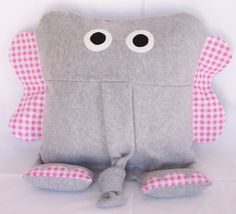 Elephant Animal Pillow from 3 Silly Monkeys on Etsy.  14 x 14 pillow made from soft fleece.  $14.00
