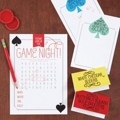 Host a party filled with friendly competition using this party art. Game on!  Game On Deck-of-Cards Design Game On Invitation Game On Score Cards...