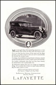 1923 Lafayette Touring Car Old Illustrated Vintage Print Ad 1920s Photo Print Ad | eBay