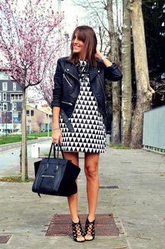 Black and white dress, leather jacket, spring outfit, fashion