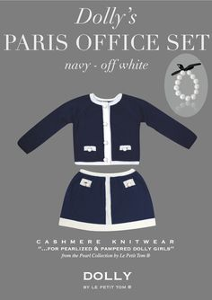 DOLLY by Le Petit Tom ® PEARLED PARIS OFFICE SET navy   Le Petit Tom ®