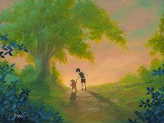 Winnie the Pooh - Walking the Path Together - Christopher Robin - Original - Rob Kaz - World-Wide-Art.com