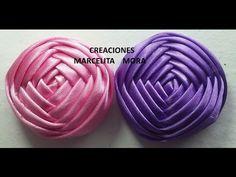 Boton Flor en Liston  (4lados)DIY-How to make Flower a Ribbon Rose Tutorial - YouTube
