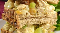 Fruity Curry Chicken Salad...    A healthy and tasty chicken salad with a fruity twist - great on a croissant or in a honey pita. Note: This salad is best if eaten the day after preparation. This allows the ingredients time to mingle, giving a fuller flavor. If desired, use nonfat mayonnaise.