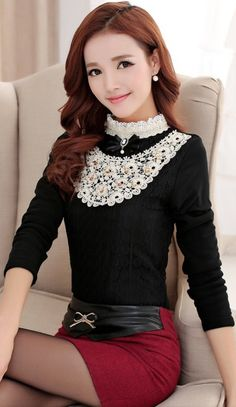 Lace Top With Crocheted Mandarin Collar