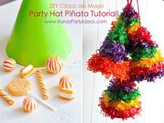 EASY tutorial on fun Cinco de Mayo Fiesta DIY Party Hat Pull String Piñatas! via Kara's Party Ideas KarasPartyIdeas.com