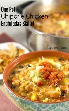 Chipotle chicken enchiladas skillet - an easy weeknight dinner that freezes beautifully. Perfect for a potluck dinner!