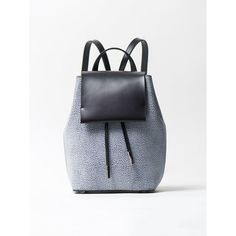 Gray Snap Cowhide Leather Backpack ($142) ❤ liked on Polyvore featuring bags, backpacks, cowhide backpack, backpack bags, checkered backpack, cowhide leather backpack and cowhide leather bag