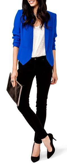 Stylish work outfit. The Blue blazer really brightens it up!