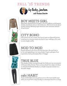 STYLE IT! cabi Fashion Director Becky Jantzen shares Fall 2016 Trends! www.caronmcmahon.cabionline.com