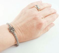 A single square of Celtic Labyrinth makes a great focal for this stainless steel Jens Pind Chainmaille Bracelet!