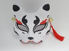 ・made of thick paper Kitsune Maske, Japanese Fox Mask, Cool Masks, Japanese Tattoo Designs, Cat Mask, Beautiful Mask, Carnival Masks, Oriental Pattern, Japan Art