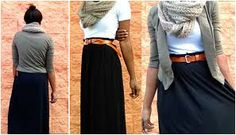 More maxi skirt ideas: wear with belt, t-shirt, sweater, and scarf