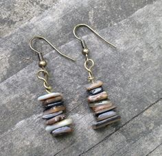 Earth Tones Stacked Shell Earrings by TripIntoLight on Etsy, $7.00