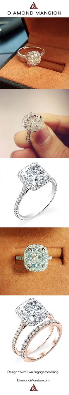 The most beautiful collection of Cushion Cut Halo Engagement Rings from Diamond Mansion. Custom Design your own Cushion Cut Diamond  Engagement Ring at https://www.DiamondMansion.com