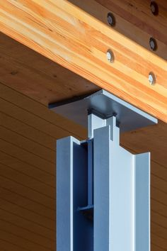 Steel column to heavy timber connection | Cascades Academy, Central Oregon Campus | Hennebery Eddy Architects