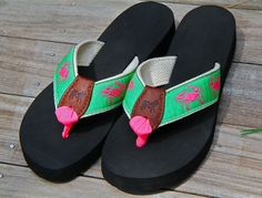 6d6bfc112fe8 Crab flip flops from Belted Cow Company - design your own! Belted Cow