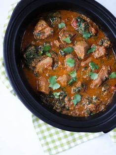This Slow Cooker Beef Curry is a simple, prepare ahead midweek meal. A tasty 'fakeaway' curry, the slow cooked beef pieces are cooked in a tomato sauce.