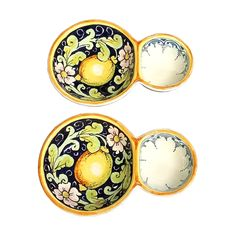 CERAMICHE D'ARTE PARRINI - Italian Ceramic Pottery 2 Appetizer for Olives and Puts Decorated Lemons Hand Painted Made in ITALY Tuscan. Ceramic 2 appetizers for olives and puts. Decorations : Branches of lemon on a white ivory frame curls and blue edges in antiquity. . Net weight Kg.0.900 Dimensions 6.69 Inch x 4.33 Inch --All our products are lead-free and can be used for foods, can go in the dishwasher and in the microwave-By purchasing directly from the manufacturer of Tuscan craft, you...