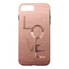 Modern Rose Gold Polygon Love iPhone 7 Plus Case