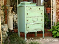 Gorgeous #MintyGreenDresser by {Red Barn Estates} #PaintedFurniture