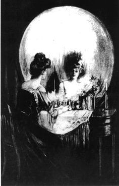 Is this a Victorian lady sitting at her vanity or a skull?  I have had this hanging in my room since I was 14, love this one! Charles Allan Gilbert (1892)
