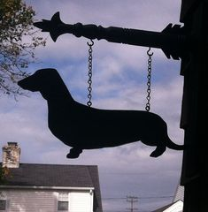 Hanging Wood Silhouette DOXIE by HunnieBunnies on Etsy