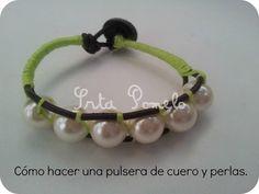 Srta Pomelo: Tutorial: cómo hacer una pulsera de cuero y perlas.