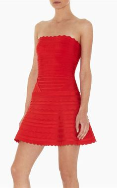 Hever Leger Strapless Serrated Edge Red Bandage Dress [Tory Burch Outlet 1239] - $126.00 : Cheap Herve Leger Dresses On Sale 2013 With Discount Price