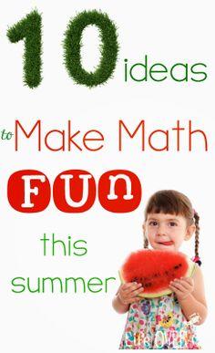 Keep that brain working during the summer! 10 Ideas to Make Math Fun this Summer Math Activities For Kids, Preschool Math, Fun Math, Math Games, Teaching Math, Maths, Summer Fun, Summer Themes, Summer School