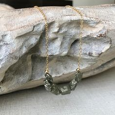Rough Pyrite Necklace in Gold or Silver