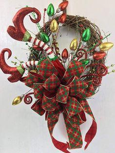 CHRISTMAS Wreath Small Elf Legs Ribbon wreath by DecoExchange