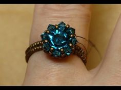 Sidonia's handmade jewelry - Swarovski Solitaire beaded ring - YouTube