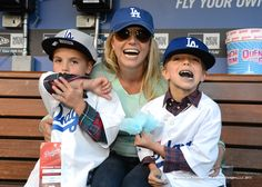 Britney & her boys at the LA Dodgers game on April 17th.