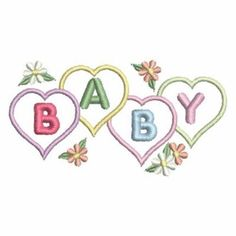Baby Hearts embroidery design - This would be so cute done with our baby gift thread palette - http://store.myenmart.com/baby-gift-palette---polyester-embroidery-thread-5500-yard-cones-p953.aspx
