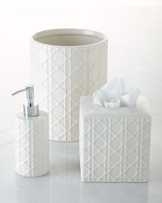 Cane Embossed Porcelain Vanity Accessories by Kassatex at Horchow.