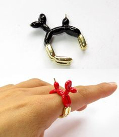 """Balloon dog"" by Gali Bardy. Cute Jewelry, Jewelry Rings, Jewelry Accessories, Jewelry Design, Jewellery, Weird Jewelry, Balloon Dog, Balloon Animals, Animal Rings"