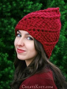 Discover the Fairy-tale world of Woodland Gnomes!  Unique spiral design gives you a truly one of a kind gnome hat crochet pattern!  http://www.creatiknit.com/shop/the-glenn-gnome-hat-crochet-pattern-adult/