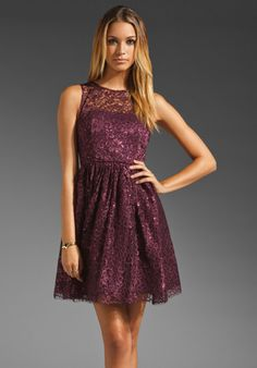 Alice   Olivia Ophelia Sleeveless Lace Top Dress in Plum    But in my colors......