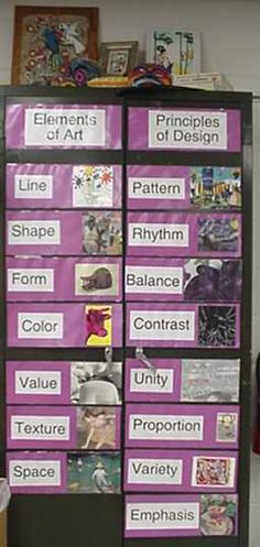 The elements and principles are posted in the room so students can use the language of art in context.