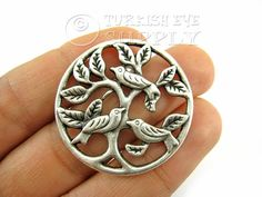 2 pc Tree of Life with Birds, Antique Silver Plated Tree Bird Pendants, Charms, Turkish Jewelry